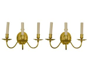 Georgian Style Gold Plated French Sconces by Delisle Paris, Pair
