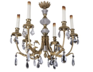 Rock Crystal and Ormolu Bronze Chandelier, French Circa 1900