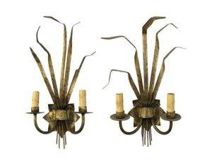 Antique Gilded Wheatsheaf Sconces
