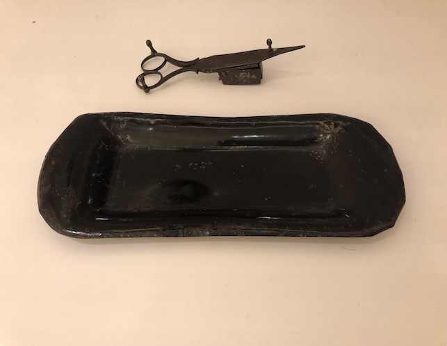 Antique Candle Wick Trimmer and Antique Metal Tray