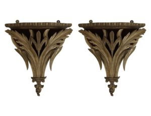 Pair of Giltwood Brackets with Velvet Lining