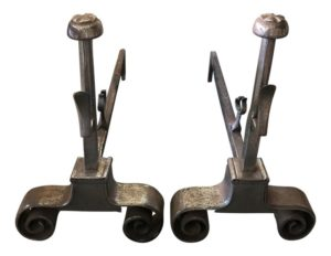 Ball Top Double Scroll Andirons in Antiqued Silver Finish