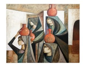 """Water Carriers"" by Lucio Ranucci, Oil on Canvas, 1981"