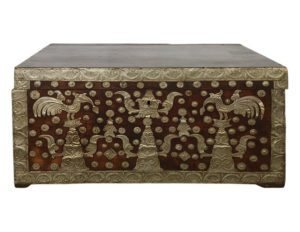 Antique Wood Chest with Silver Detail