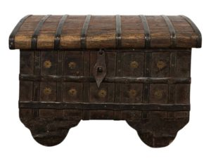 Antique Hammered Teak and Iron Dowry Chest