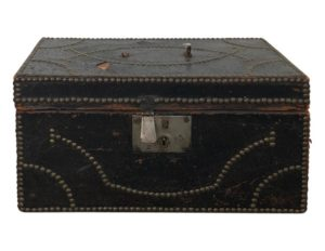 Antique Export Leather and Brass-Mounted Camphorwood Trunk