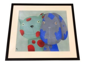 Cat & Dog Print, Signed