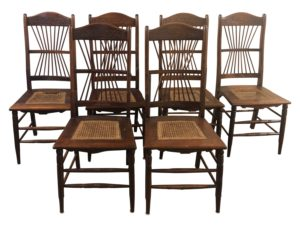 Antique Spindle Back & Cane Chairs, circa 1890
