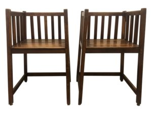 Antique Asian Spindle Arm Chairs, Pair