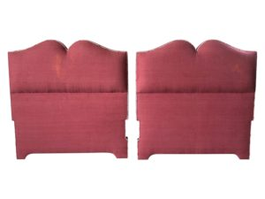 Pink Linen Twin Headboard, Pair
