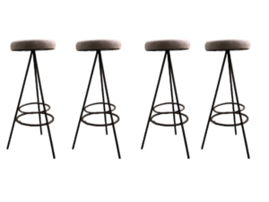 Antique Iron Barstools with Linen Seats, Set of 4