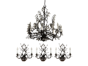 Bronze and Crystal Chandelier with Matching Sconces