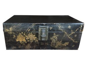 Antique Hand Painted Black Lacquer Oriental Trunk