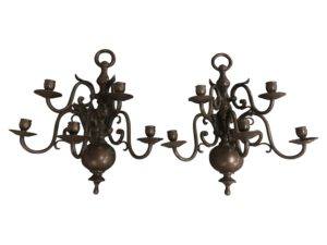 5-Arm Vintage Bronze Sconces, Pair