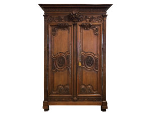 Antique Intricately Carved French Country Armoire
