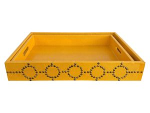Mustard colored Faux Leather and Studded Trays