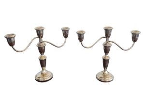 Pair of 1920s Empire Sterling Silver Three Arm Candelabra