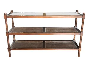 British Colonial Three-Tiered  Cane Shelf Etagere in Mahogany