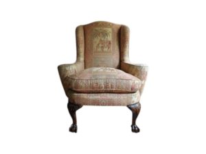 Chippendale Style Wing chair Upholstered in Old Worlds Weavers