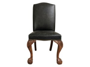 Ralph Lauren Black Leather Side Chair with Ball and Claw Feet
