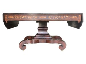 19th Century American Empire Drop Leaf Inlay Flame Mahogany Table