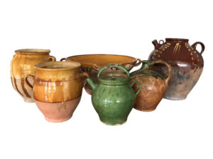 19th Century French Glazed Confit Pots, Pitchers and Bowl