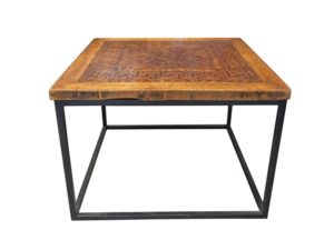 Coffee Table with Iron Base and Antique Inlaid Wooden Top