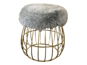 Circular Faux Fur and Metal Stool