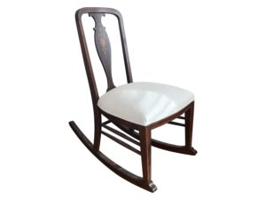 Antique Inlay Wood Child's Rocking Chair with Upholstered Seat