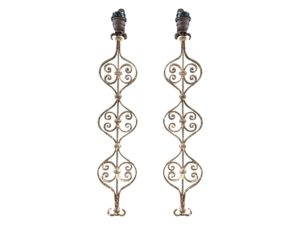 Antiqued Iron Scroll Wall Sconces, Pair