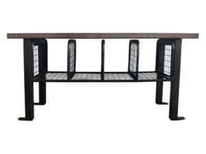 Restoration Hardware Metal Wire Basket Table with Wood Top