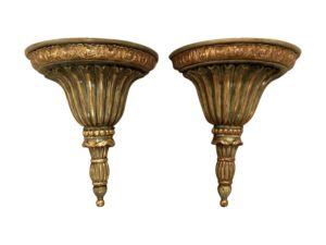 Althorp Carved Wood Paint and Parcel Gilt Wall Brackets, Pair
