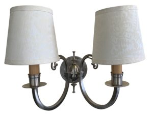 Double Arm Scroll Nickel Sconce