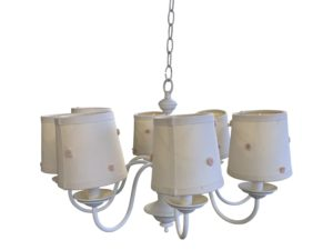 White Metal 8 Light Chandelier with White/Pink Shades