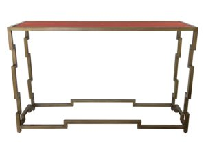 Mr. Brown Fontana Console with Orange Faux Shagreen Top and Brass Frame
