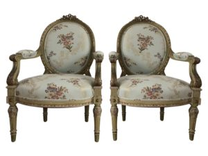 Vintage French Louis XVI Oval Back Arm Chairs
