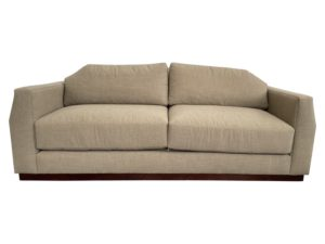 Century Taupe Flannel Like Sofa with Slightly Angled Sides