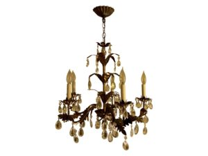 Antique French 5 Arm Gold Gilded & Crystal Chandelier