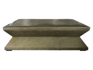 Custom Olive Nailhead Studded Leather Coffee Table