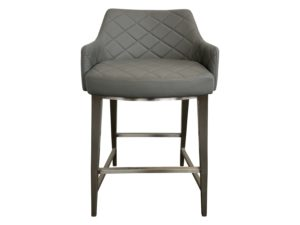 Sunpan Home Quilted Grey Counter Stool with Silver Metal Base