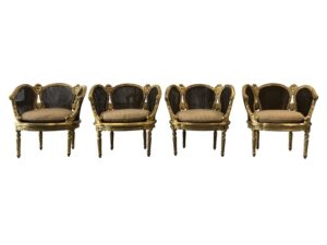 Antique Late 19th C Louis XVI Gold Leafed Chairs, Set of 4