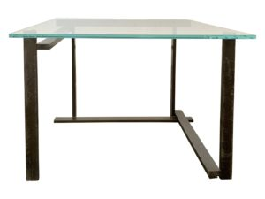 Glass Side Table with Asymmetric Metal Base