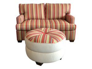 Upholstered Multi Stripe  Loveseat with Ottoman