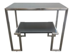 Black Granite and Chrome Side Table