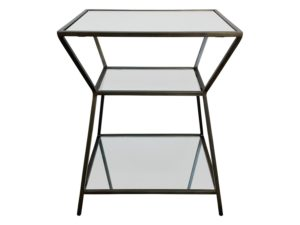 Interlude 3 Tiered Mirrored Side Table