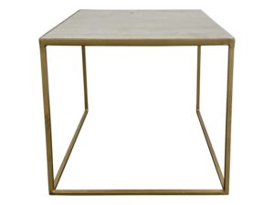 Mr. Brown London Quartz and Brass Cube Side Table