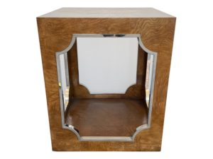 Bernhardt Burled Tiled Wood Side Table with Silver Arch Inlay