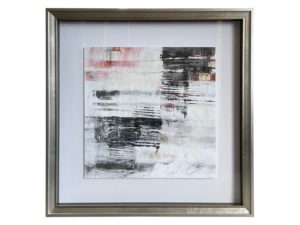 """Delino II"" Black White and Pink Square Abstract (artist signed)"