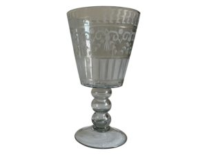 Etched Glass Footed Small Vase