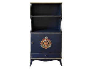 Navy Blue Painted Bookshelf with Crackle Finish and Painted Crest